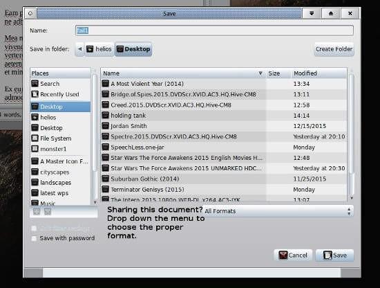 "LibraOffice ""save as"" screen"