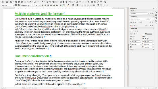 LibreOffice Writer 5.1.1