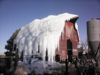 Ice covered barn