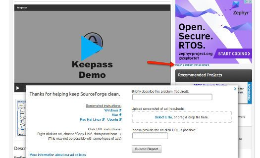 SourceForge deceptive add reporting tool.