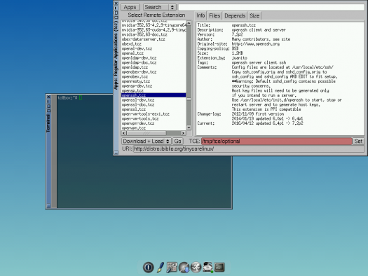 Tiny Core Linux 7.1 package management