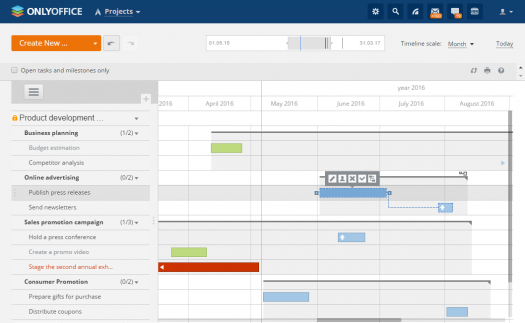 Gantt Chart View in OnlyOffice