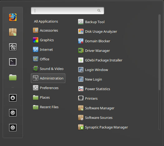 Linux Mint 18 Cinnamon Menu