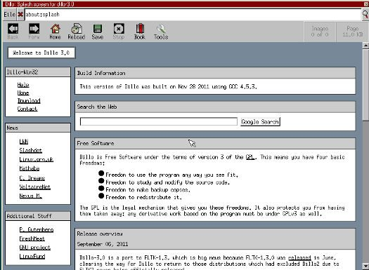 FreeDOS Dillo web browser