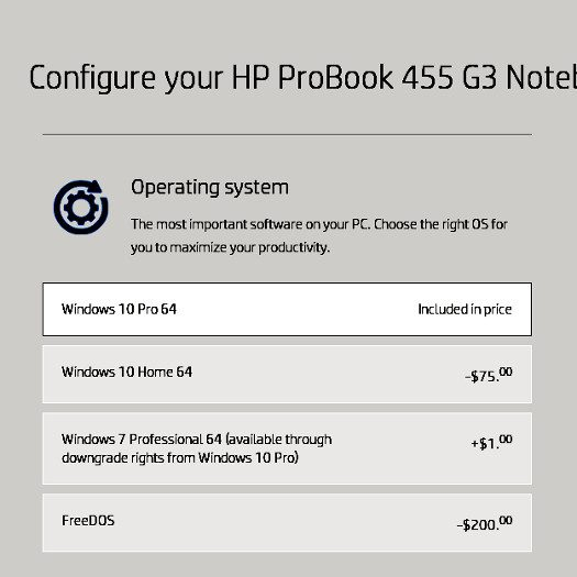 HP Probook freeDOS option