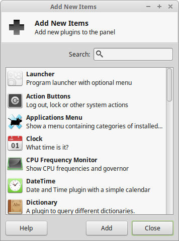 Linux Mint 18 panel add tool