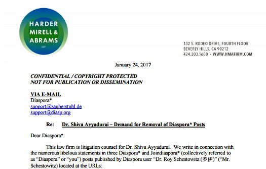 email to remove Ayyadurai post from diaspora