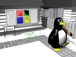 Linux Tux smashing Windows