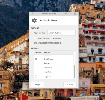 Xfce Action Buttons configuration