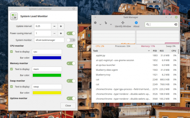 Xfce System Load Monitor configuration