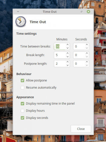 Xfce Applet Time Out configuration