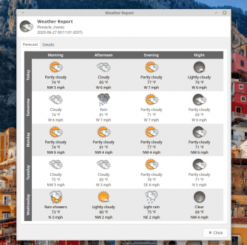 Xfce Weather Update forecast
