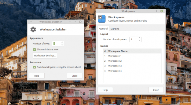Xfce Workspace Switcher configuration