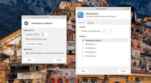 Xfce Workspace Switcher configuration